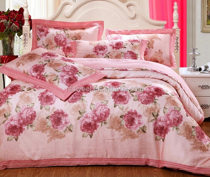 100% satin jacquard princess Bedding set 60s*60s pink luxury style high quality duvet cover set