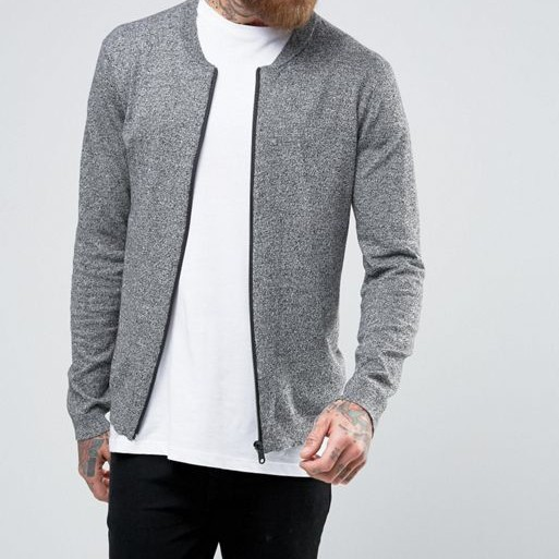 Fashion New Design Men Grey Winter Knitted Bomber Jackets Wholesale Jackets In Cotton