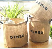 DM 635 Wholesale multifunctional sundries bucket tote environmental home supplies jute Bin clothing burlap storage