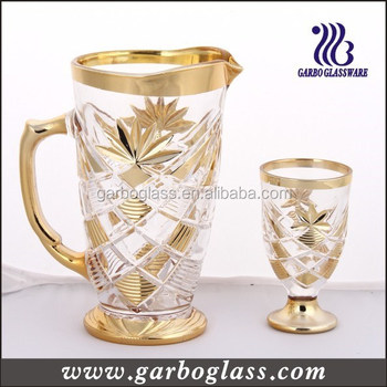 New Design Glass Set With Silver Rim/ Decaled Engraving Glass Cup ...