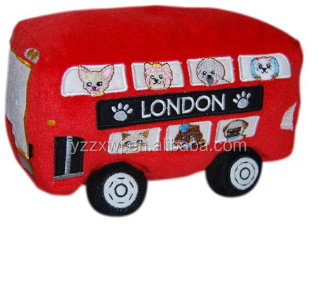 plush toy bus/Red London Bus Plush Dog Toy/cheap toys soft toy car plush bus stuffed toys