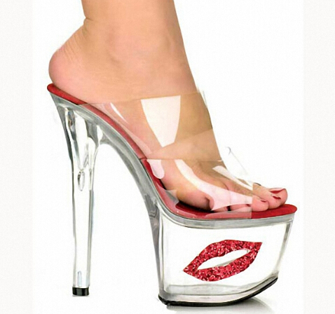 f000acb370f622 Buy 2016 Sexy Crystal Shoes 17cm Ultra High Heels Exotic Dancer Red Lips  Platform Slippers Night Club 7 Inch High Heels Fetish Pvc in Cheap Price on  ...