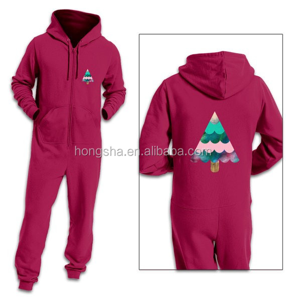 af36e7228f42 Adult Onesie Winter Family Christmas Jumpsuit Pajama With Hood One Piece  Jumpsuits With Customize Tree Logo