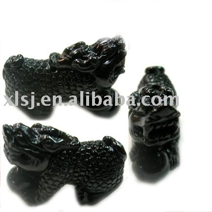 Piedra natural negro obsidiana Dragón