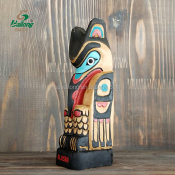 Professional factory hand made carved painted multi colour wooden handicraft Indian totem pole