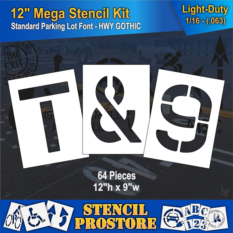 "Pavement Stencils -12 inch MEGA ALPHA/NUM SET - (64 Piece) - 12"" x 9"" x 1/16"" (63 mil) - Light-Duty"