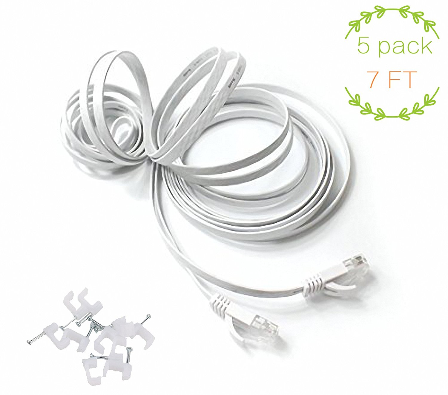 comtelek? High Speed Cat6 RJ45 FLAT TANGLE FREE Snagless Network Cable - Patch - Ethernet / Moderm / Router / LAN / Printer / MAC / Laptop / PS2 & PS3 / XBox & XBox 360 - 7 Feet white