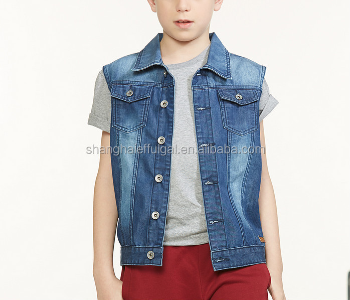 Denim Jacket Without Sleeve Children Denim Vest Boys Denim Vest