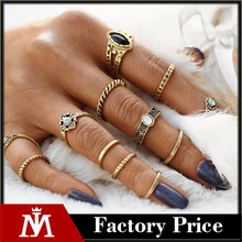 12pcs/set Fashion Vintage Punk Midi Rings Set 2017 Antique Gold Color Boho Female Charms Jewelry Knuckle Ring