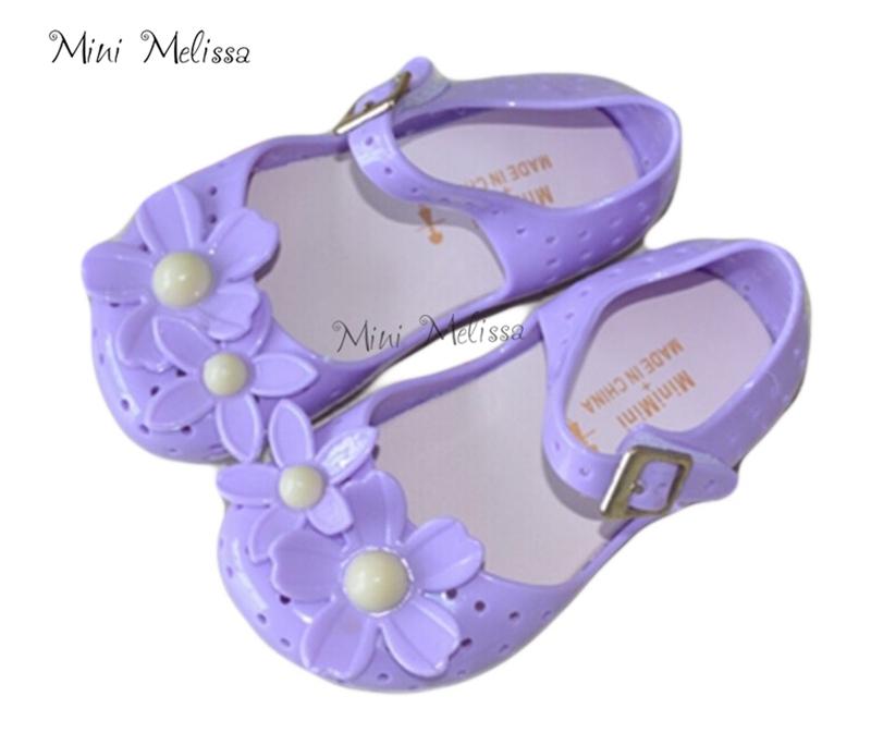 88e678a32bbf7 Get Quotations · Summer Style 2015 Mini Melissa Kids sandal fashion flower  Grils shose soft leather flat heel velcro