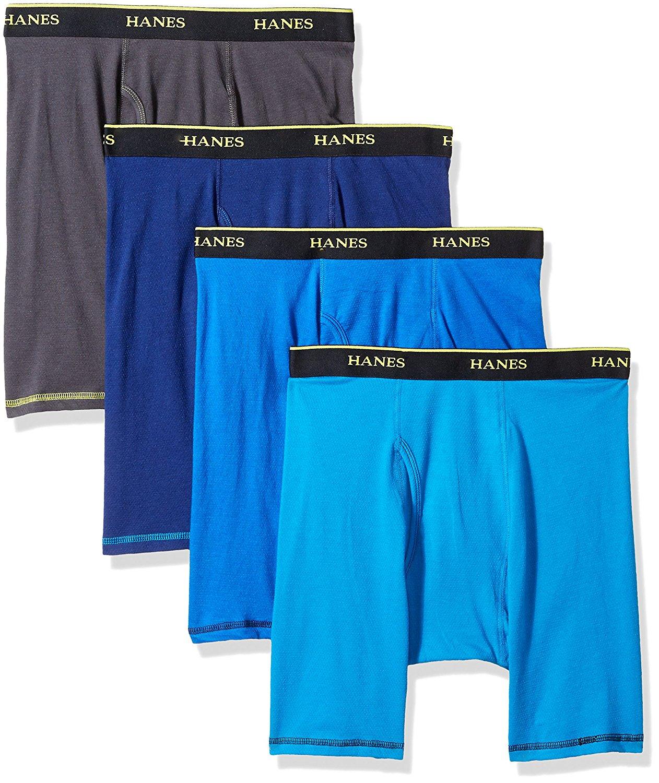 Hanes Men's 4-Pack Cool Comfort Breathable Mesh Long Leg Boxer Brief