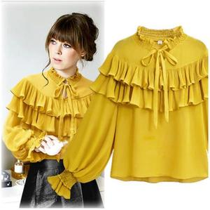 Vintage sweet shirts Women's puff sleeve Body Blouse Tops Shirt Stand Collar Ruffles chiffon Blouse Shirts blusas large size