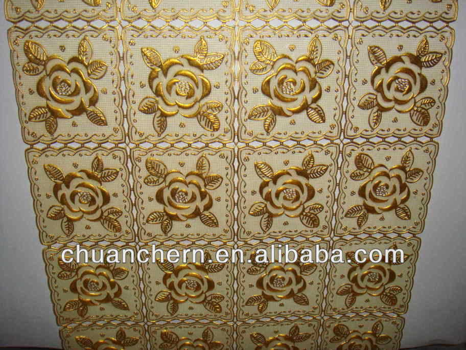 "20"" golden pvc table lace runner in roll"