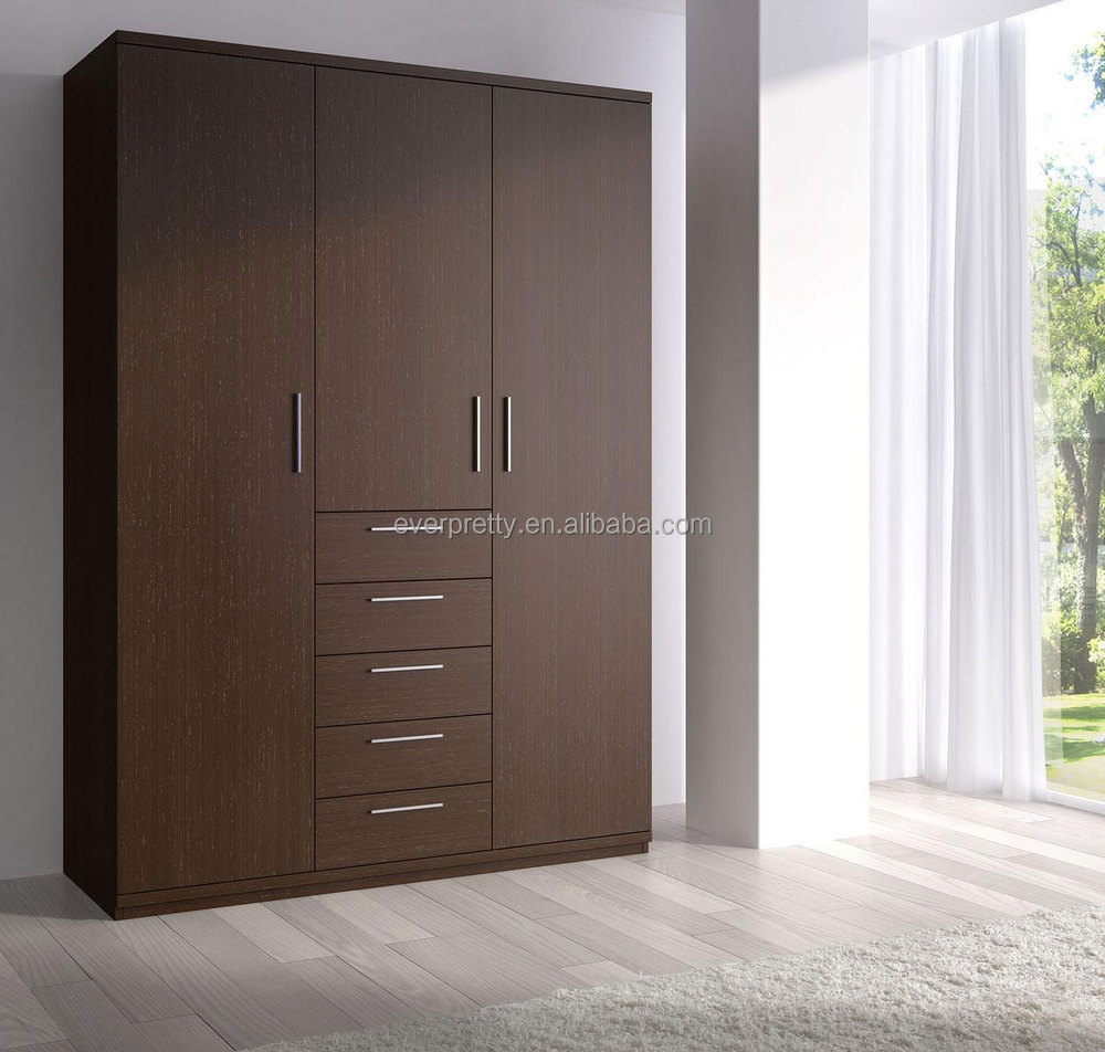 Modern wooden almirah designs 3 door bedroom wardrobe for Wardrobe interior designs catalogue