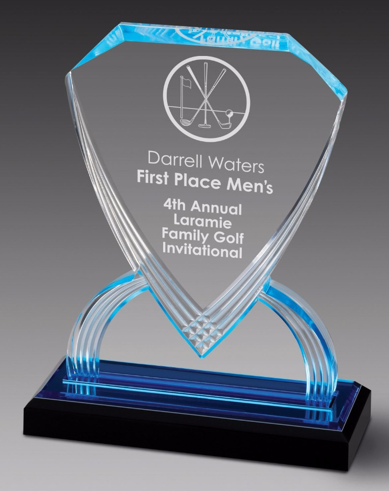 High Transparent Customizable 8-3/4 Inch Clear Acrylic Shield Trophy with Blue Reflective Black Base