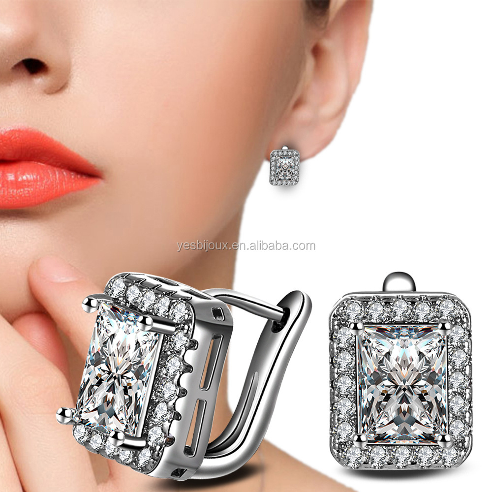 platinum zirconia earring fine good quality funky earring <strong>jewelry</strong>