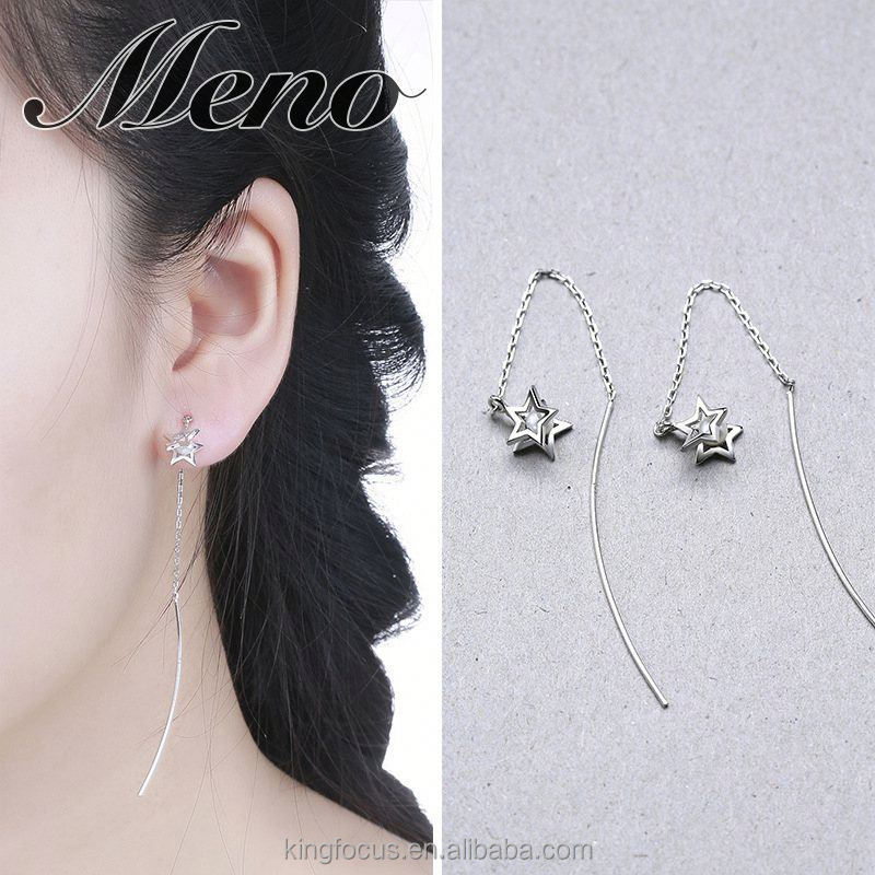 Meno S925 silver jewelry double five pointed star pearl hoop Korean style fashion cat gift