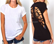 OEM Fashion Hot Womens Round neck short sleeve T-shirt vest Pierced Undershirt Short Sleeve Black or White Loose shirt