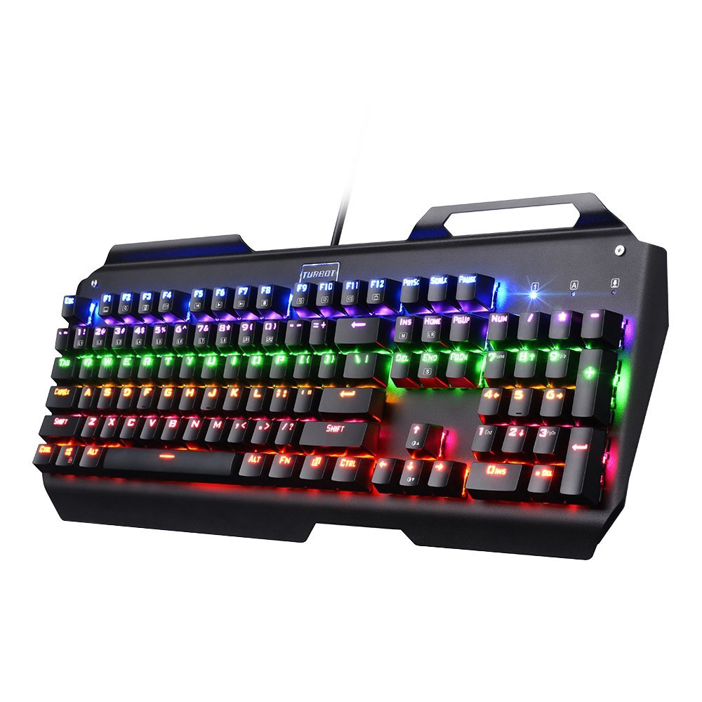 Mechanical Gaming Keyboard, Turbot RGB Backlit 104-Key Wired Ergonomic Keyboard for PC Gamer