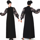 New design Lace sleeve dubai kaftan dress women turkish islamic clothing abaya muslim dresses