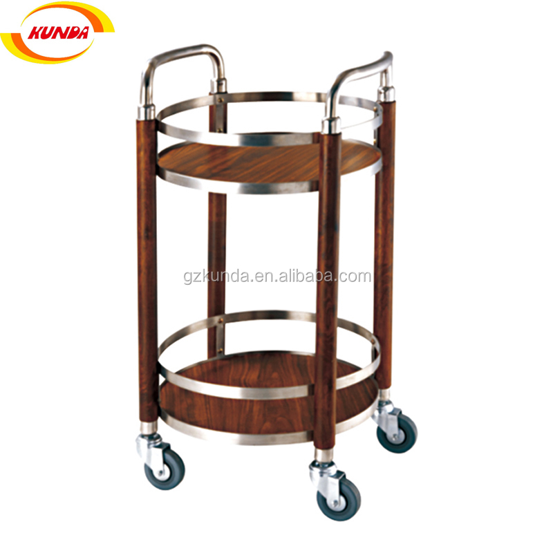 solid wood stainless steel 2 layers rolling bar cart food service hand trolley dining cart with handle B-120