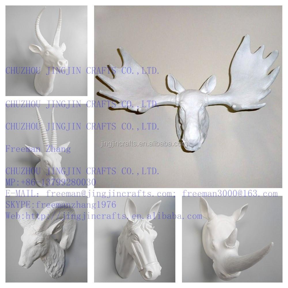 Hoge kwaliteit met de hand geschilderd binnen buiten hars dier hoofd muurbeugel voor - Afbeelding van huisdecoratie ...