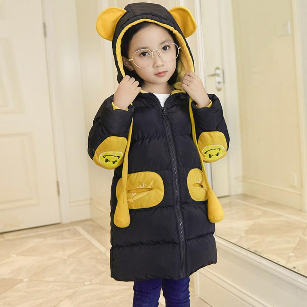 Hooded coat with bear ear pretty girls winter thermal costume girls winter clothes long sleeve girls coats