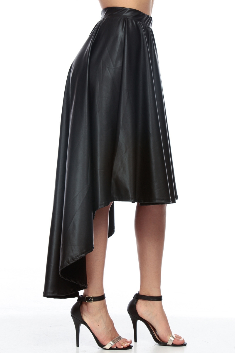 Wholesale Faux Leather Skirt Black High Low Midi Skirt - Buy Midi ...