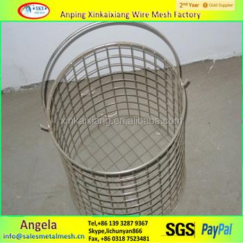 Stainless Steel Wire Mesh Basket/round Metal Wire Basket/wire Basket ...