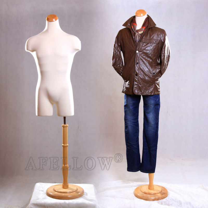 male Torso cloth foam dress form mannequin with wooden base on sale