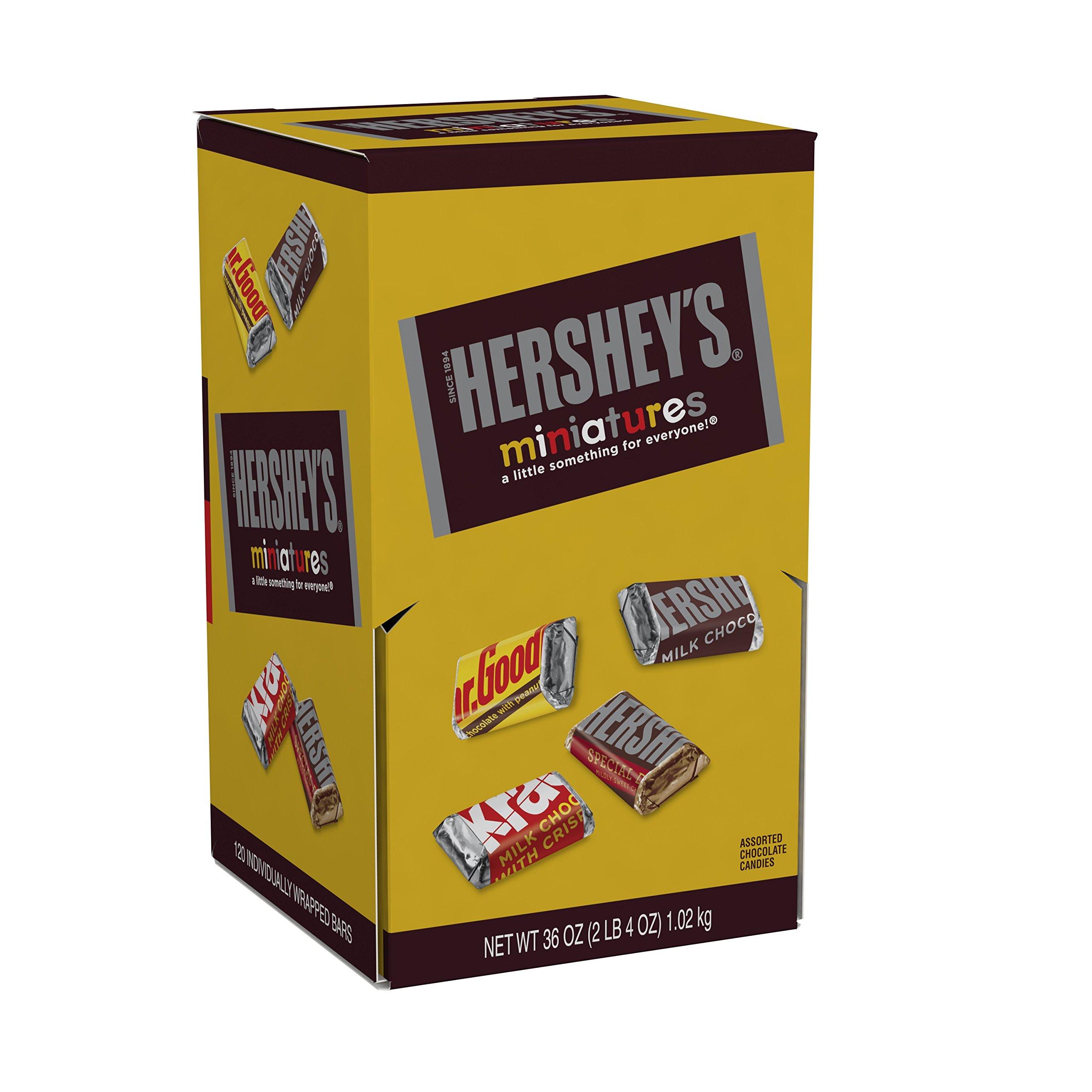 HERSHEY'S Chocolate Candy Bar Assortment, Miniatures (Hershey's, Krackel, Mr Goodbar, Special Dark), 36 Ounce Bulk Candy