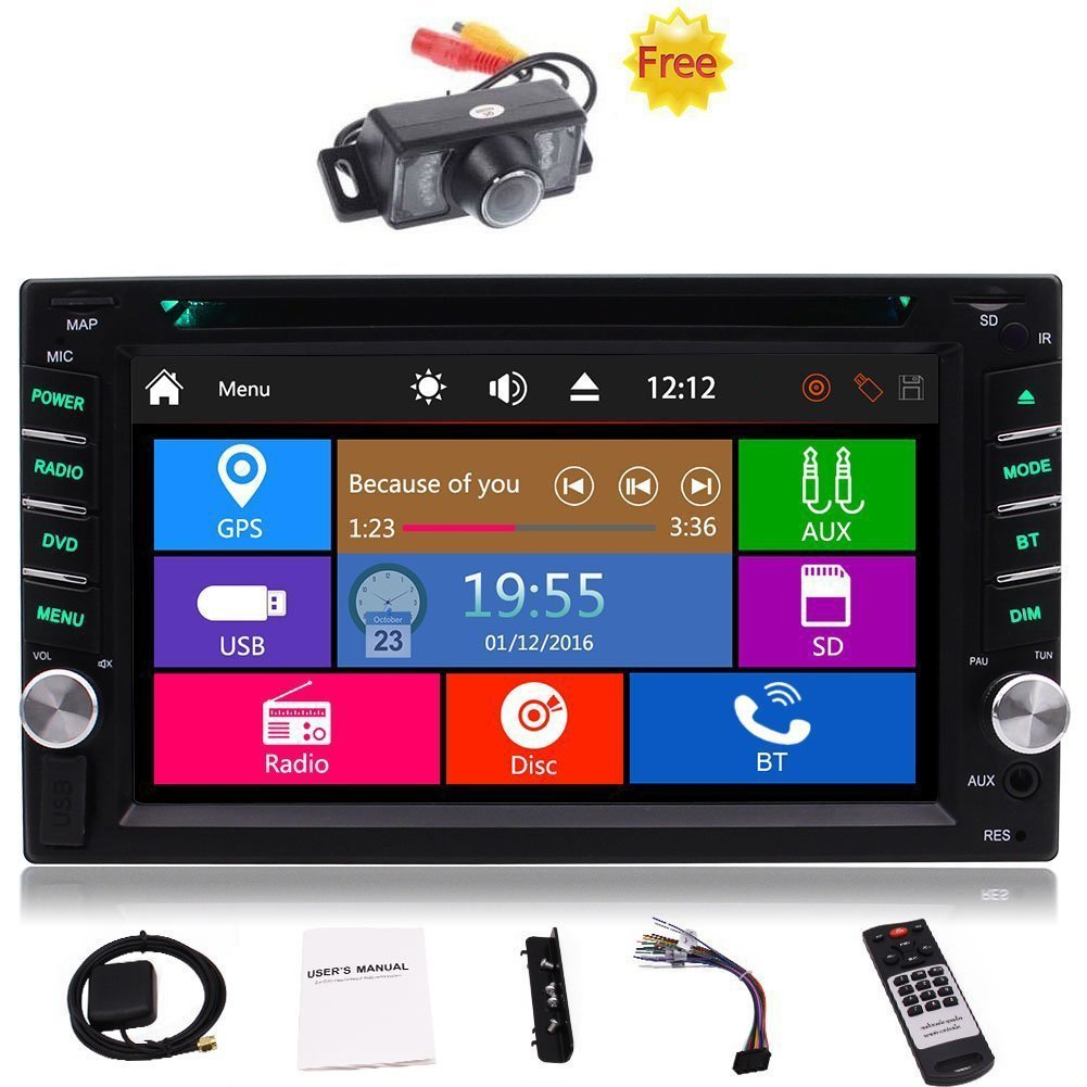 """Free Car Rear View Camera + Double Din 6.2"""" Touch Screen in Dash Stereo Car Receiver DVD CD 1080P Video Player Bluetooth GPS Navigation FM/AM RDS Radio TF/USB/ AUX-in/Subwoofer/SWC +Remote Control"""