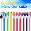 cheap price colorful flat noodle Micro USB cable for samsung galaxy