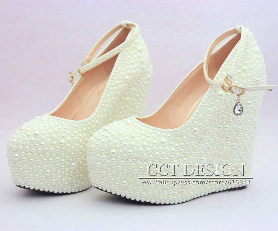 Wedge Heel Shoes For Wedding: 2015 New Fashion Wedding Wedges Formal Wedding Shoes White