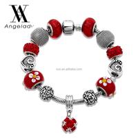 Red color crystal diamonds bracelet fashion beads lady alloy flower bracelet