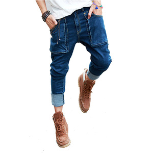 Spring Summer New Mens Hip Hop Jeans Vintage Washed Pockets Drop Harem Pencil Pants For Men
