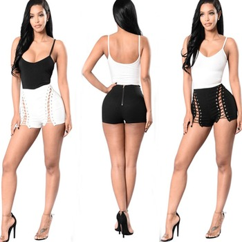 365f01c4aa82 F50209A Hot sale latest summer sexy zipper high waist hot pants bandage hot  tight shorts for