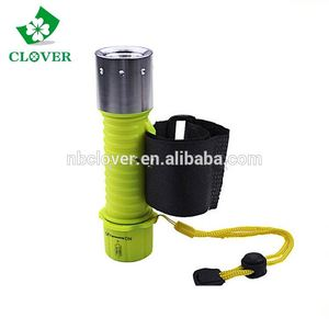 Green plastic material waterproof chinese diving powerful led flashlight