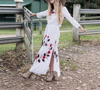 Spring Embroidery Holiday Beach Dresses For Women Loose Bohemian Long Maxi Clothing STb-436