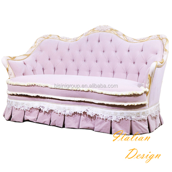 Classic Regina Rococo Style Wood Carved Tufted Sofa Of Two Seat Italian Design Soft Couch