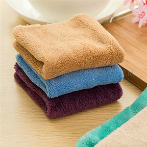 25X25CM Microfiber Coral Fleece Flannel Table Knit Hand Cloth
