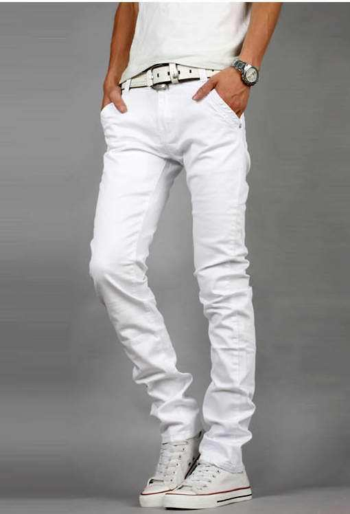 Men's White Skinny Jeans It's time to give your black skinny jeans a break and try a white pair. A quick way to give your everyday uniform an instant refresh, switching your black pants for white skinny jeans is your shortcut to effortless off-duty cool.