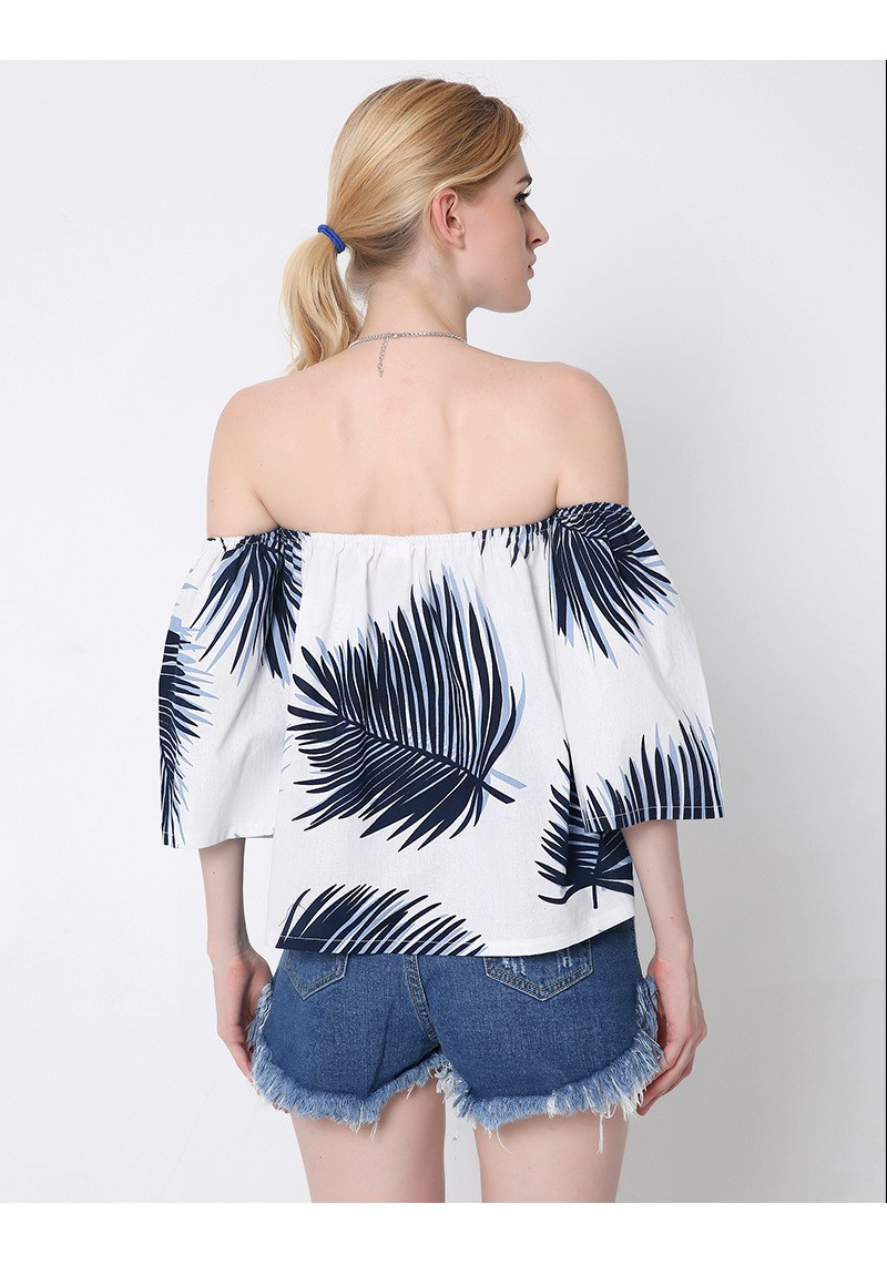 Latest fashion women chiffon tank top sexy ladies off shoulder printing blouse