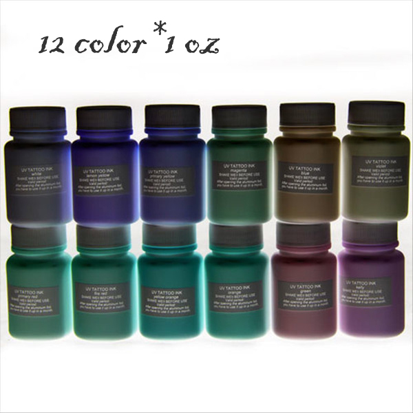 8 Color 2 Oz Mini Tattoo Ink Set,Black Light Metallic Tattoo Ink ...