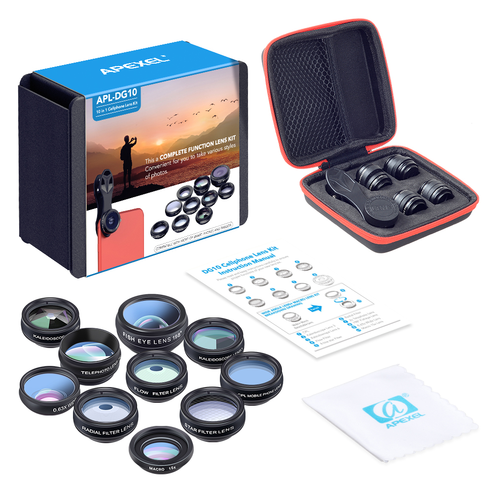 APEXEL APL - DG10 Universal Wide Angle + Macro + Fisheye Lens + Telephoto + CPL + Filter 10 in 1 Mobile Camera Lens Set