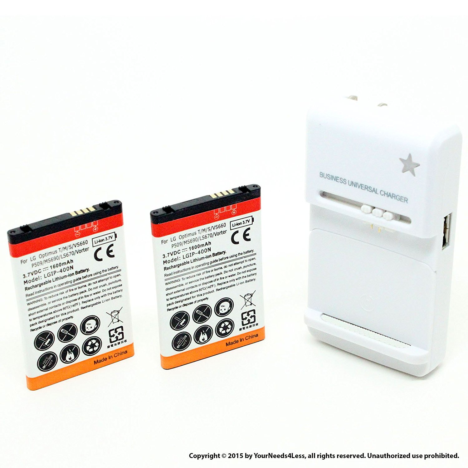 YN4L 2 X 1600mAh Replacement Batteries for LG LS670 ; Optimus S ; VS660 + Wall Dock Charger Bundle