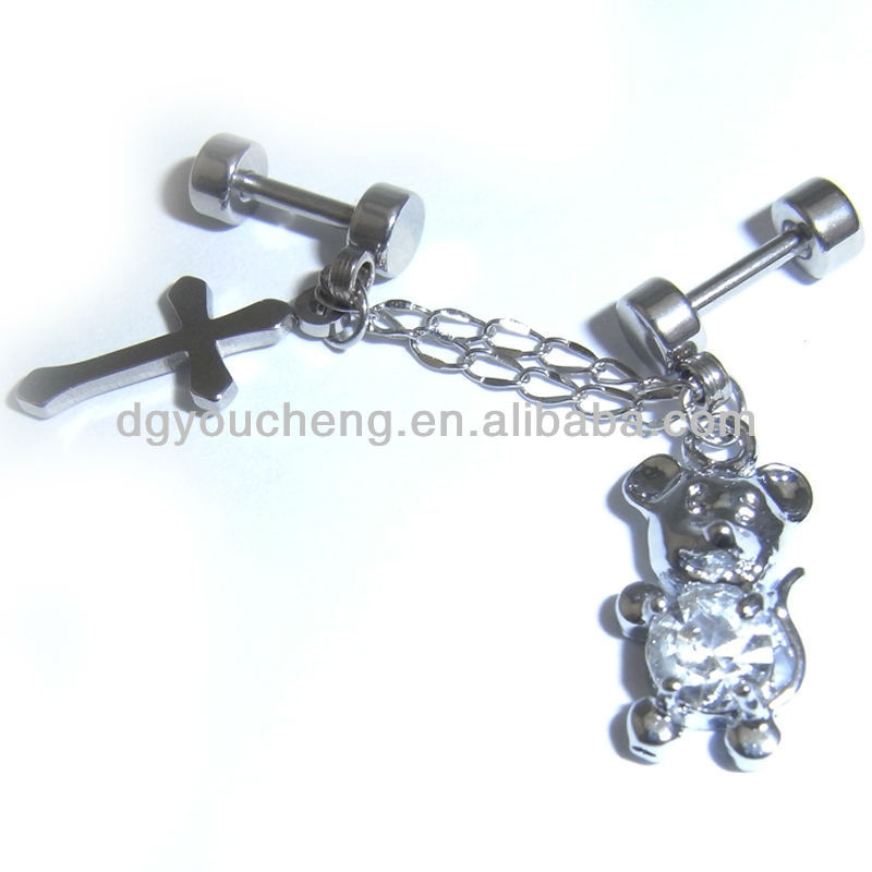 Stainless steel crystal jeweled daily wear magnetic dangle cartilage earrings