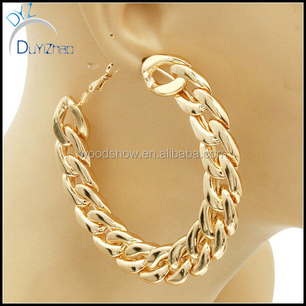 New Hip Hop Style Fashion Gold Silver Cuban Link Chain Hoop Earrings