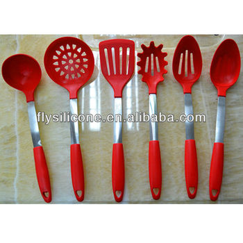 Set Of 6 Piece Red Cooking Utensils Set Silicone Tools