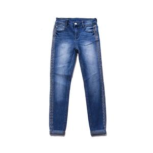 Ladies Side Stripe Small Artificial Diamond Decoration Skinny Jeans Denim Pants For Women